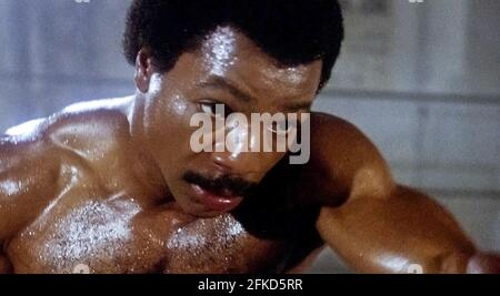 USA. Carl Weathers in a scene from (C) MGM/UA film: Rocky III (1982). Plot: After winning the ultimate title and being the world champion, Rocky falls into a hole and finds himself picked up by a former enemy.   Ref: LMK110-J7064-290421 Supplied by LMKMEDIA. Editorial Only. Landmark Media is not the copyright owner of these Film or TV stills but provides a service only for recognised Media outlets. pictures@lmkmedia.com