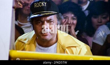 USA. Burt Young  in a scene from (C) MGM/UA film: Rocky III (1982). Plot: After winning the ultimate title and being the world champion, Rocky falls into a hole and finds himself picked up by a former enemy.   Ref: LMK110-J7064-290421 Supplied by LMKMEDIA. Editorial Only. Landmark Media is not the copyright owner of these Film or TV stills but provides a service only for recognised Media outlets. pictures@lmkmedia.com