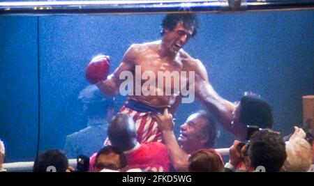 USA. Sylvester Stallone  in a scene from (C) MGM/UA film: Rocky III (1982). Plot: After winning the ultimate title and being the world champion, Rocky falls into a hole and finds himself picked up by a former enemy.   Ref: LMK110-J7064-290421 Supplied by LMKMEDIA. Editorial Only. Landmark Media is not the copyright owner of these Film or TV stills but provides a service only for recognised Media outlets. pictures@lmkmedia.com