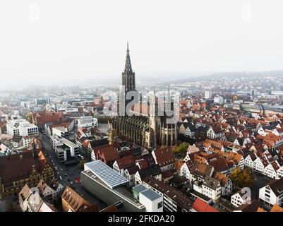 Aerial cityscape panorama view of Ulm city at Danube river with Ulmer Munster Cathedral in Baden-Wurttemberg Germany Europe