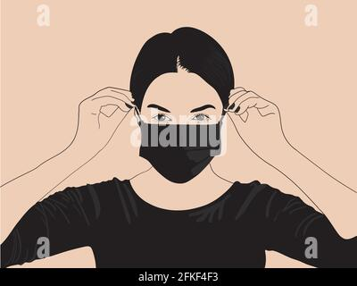 Fictional young girl wearing triple layered mask to avoid covid19 corona virus infection, a cartoon illustration Stock Photo