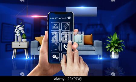 Smart Home Mobile Phone Control It has interior scene with many wireless controlled device and a mobile with app that is controlling them