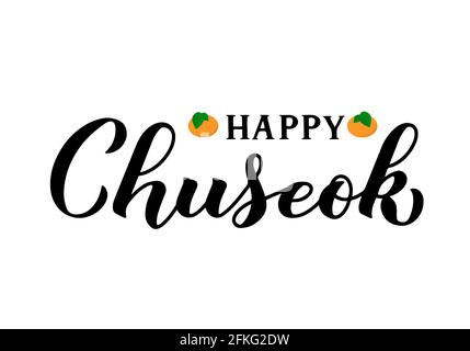 Happy Chuseok calligraphy hand lettering isolated on white. Korean traditional holiday Thanksgiving Day. Vector template for typography poster, greeti