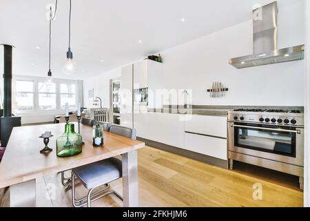 Spacious open living room with kitchen