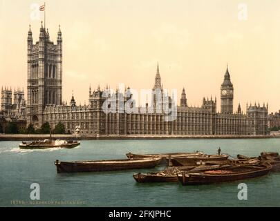 The Houses of Parliament and the River Thames London circa 1890-1900