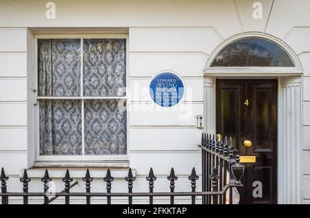 Edward Irving London Blue Plaque - Edward Irving, 1792-1834, Preacher & founder of the Catholic Apostolic Church lived at this house on 4 Claremont Sq.