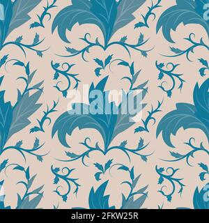 Seamless pattern in Art Nouveau style. Petals, leaves, swirls and lines in monochrome dark blue on neutral beige background. Vector illustration for p Stock Photo