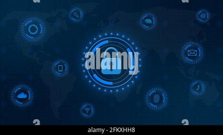Closed padlock central on digital background in blue - cyber security and information technology concept - 3D Illustration