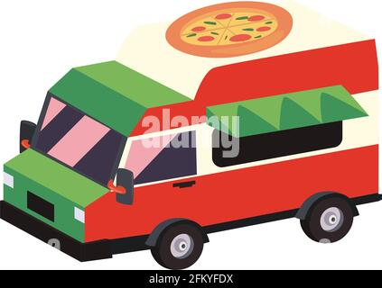 Isolated pizza food truck vehicle Stock Photo