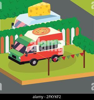 Isometric pizza food truck vehicle Stock Photo