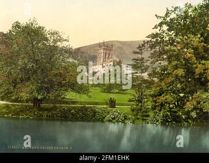 Great Malvern Priory and the Malvern Hills in Worcestershire circa 1890-1900