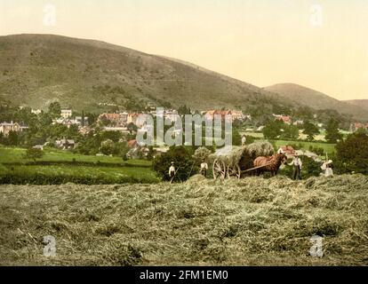 Farmers working the fields at the Malvern Hills in Worcestershire circa 1890-1900