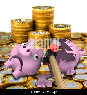 Hammer breaks piggy bank. Hammer breaks piggy bank on surface of Russian coins. 3D Illustration