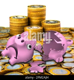 Broken piggy bank with coins. Broken money box in form of piggy on surface of Russian coins. 3D Illustration