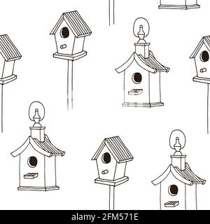 Bird feeders vector seamless pattern, hand drawn sketch isolated on white background