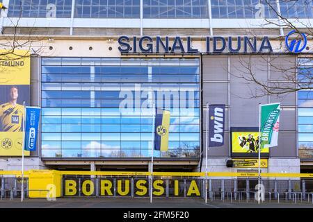 Signal Iduna Park, Borussia Dortmund football club BVB09 stadium arena front exterior, Dortmund, Germany