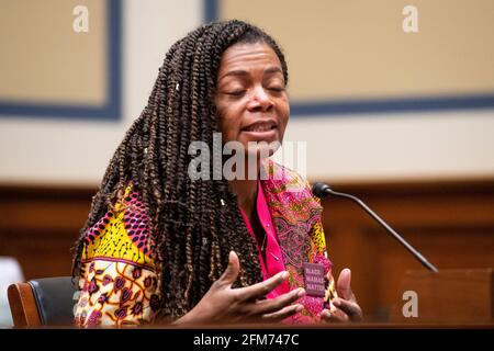 """Washington, United States Of America. 06th May, 2021. Joia Adele Crear-Perry, M.D., FACOG, Founder and President, National Birth Equity Collaborative, appears before a House Committee on Oversight and Reform hearing """"Birthing While Black: Examining Americas Black Maternal Health Crisis"""" in the Rayburn House Office Building in Washington, DC, Thursday, May 6, 2021. Credit: Rod Lamkey/CNP Photo via Credit: Newscom/Alamy Live News"""