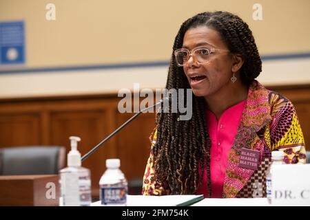 """Washington, United States Of America. 06th May, 2021. Joia Adele Crear-Perry, M.D., FACOG, Founder and President, National Birth Equity Collaborative, appears before a House Committee on Oversight and Reform hearing """"Birthing While Black: Examining Americas Black Maternal Health Crisis"""" in the Rayburn House Office Building in Washington, DC, Thursday, May 6, 2021. Credit: Rod Lamkey/CNP 