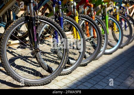 Bicycle parking in the city. Bicycles for rent. Popular Urban Eco Transport. Istanbul, Turkey - 28.07.2017
