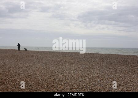 Woman walking the dog on a beach on the south coast of the uk.