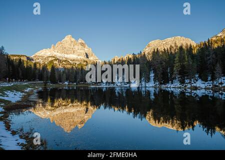 Misurina, Italy - October 27, 2014: Lake misurina is the largest natural lake of the Cadore and it is above 1754 m above sea level near Tre Cime
