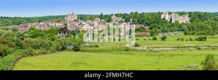Panoramic view of the Market town of Arundel, showing Arundel town & Arundel Castle, on the South Downs in Spring in West Sussex, England, UK.