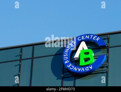 Advance Business Center logo on office building by GTC Group at the Sofia Business Park in Sofia, Bulgaria, Europe, EU