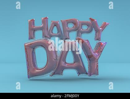 Word happy birthday in english alphabet from balloons. Holidays and education. 3D rendering