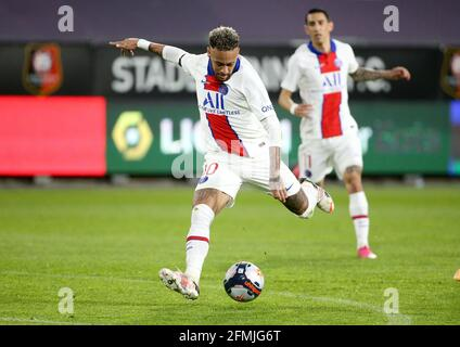 Neymar Jr of PSG during the French championship Ligue 1 football match between Stade Rennais and Paris Saint-Germain on May 9, 2021 at Roazhon Park in Rennes, France - Photo Jean Catuffe / DPPI