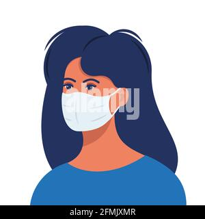 Woman with protective medical mask on face for prevent virus. Girl in surgical mask. Covid prevention. Vector illustration in flat style Stock Photo