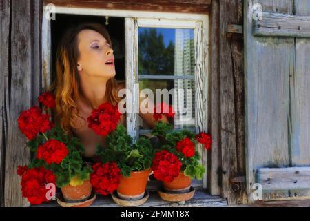 bezaubernd schöne junge Frau blickt aus alten Holzfenster mit Blumen am Fensterbrett