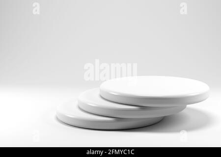 Shiny and glossy white round pedestal podium isolated on white background. 3D render. Abstract high quality pedestal. Podium can be add on banners, fl