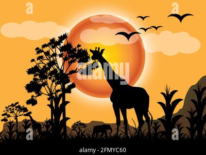 Giraffe in savannah on a shiny evening. high trees and  African elephants and other animals in the background. vector illustrator