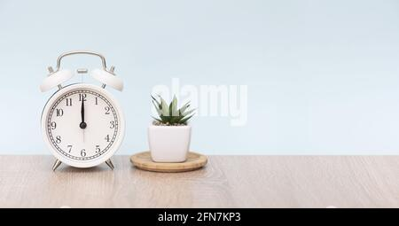 12 o'clock on the white circle alarm clock. Alarm clock on wooden table with houseplant. Minimal composition with space for text.