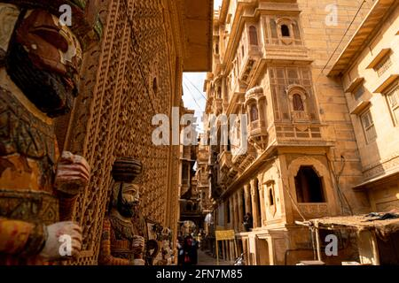 traditionally rajasthani puppet in streets of jaisalmer near patwa haweli.