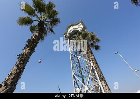 Barcelona, Spain, March 1, 2020 - Bottom-up view of Montjuic cable car tower
