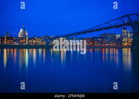 Long exposure, City of London, Millennium bridge and St Paul's cathedral in the evening