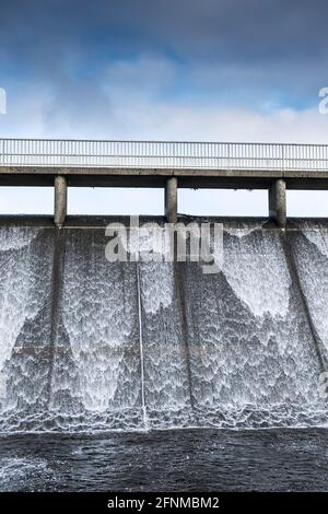 The overflow spillway of Crowdy Reservoir on Bodmin Moor in Cornwall.