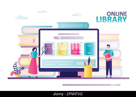 Cute woman with magnifying glass looking for book. Bookstore on computer screen. Male character holds book. Concept of online library, web archive and