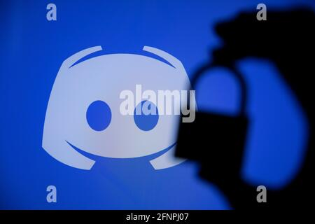 LONDON, UK - May 2021: Discord social network logo with a security padlock
