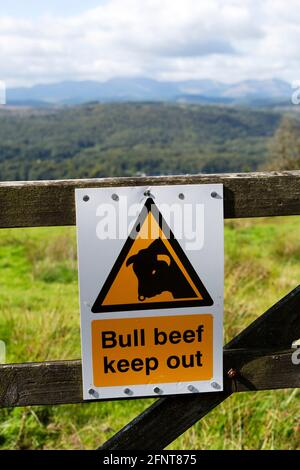 Sign warning people to keep out of a field in Cumbria, England. The field has a bull.