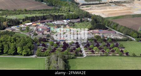 aerial view of entrance to Lightwater Valley Theme Park, Ripon, North Yorkshire