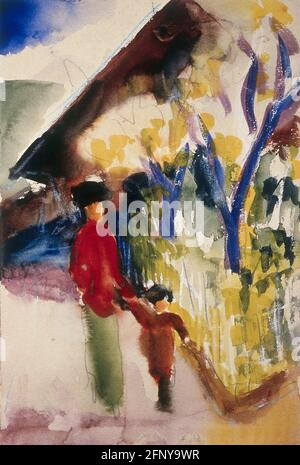 fine arts, Macke, August (1887 - 1914), painting, 'Am Schweizerhaus', 1913, watercolour, ARTIST'S COPYRIGHT HAS NOT TO BE CLEARED