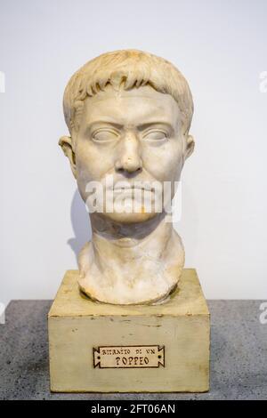 Bust of Poppeus - I sec BC Casa degli Amorini dorati (House of the Gilded cupids) Marble Pompeii archaeological site, Italy