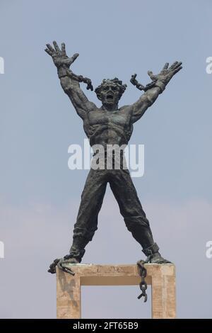 Jakarta, Indonesia - October 20, 2019: West Irian Liberation Monument. Postwar modernist monument, center of Lapangan Banteng, commemorates independen
