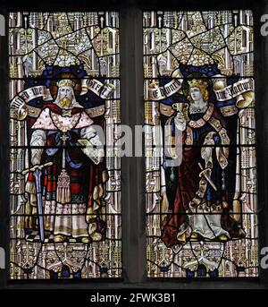 Stained glass window by Percy Bacon & Brothers depicting Alfred the Great and King Edward the Martyr, Lady St Mary  Church, Wareham, Dorset. SA1