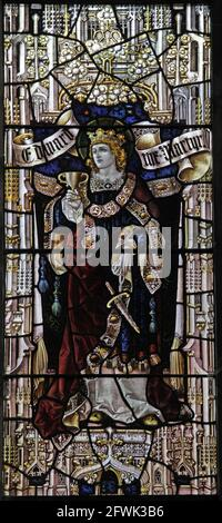 Stained glass window by Percy Bacon & Brothers depicting  King Edward the Martyr, Lady St Mary  Church, Wareham, Dorset