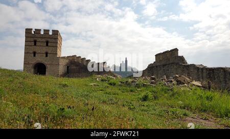 VELIKO TARNOVO, BULGARIA, March 31, 2019: Tsarevets fortress in Veliko Tarnovo in Bulgaria, view from Trapezitsa fortress
