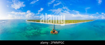 Aerial view of Maldives island, luxury water villas resort and w