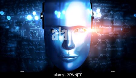 Robot humanoid face close up with graphic concept of engineering science study by AI thinking brain, artificial intelligence and machine learning